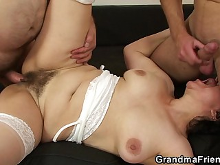 Most assuredly elderly queasy pussy granny swallows four cocks
