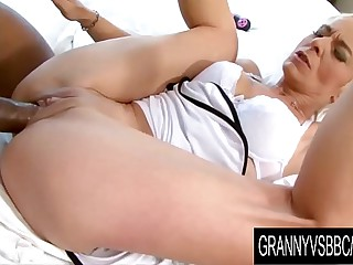Granny Vs BBC - GILF Roxette Gets Licked and Dicked by Her Frowning Boyfriend